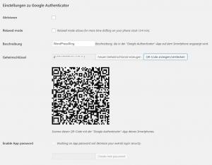 Two-Factor-Authentication - Einstellungen Google Authenticator